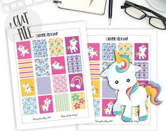 Kawaii Unicorn Planner Stickers, Monthly Planning Stickers, Monthly Weekly Planner Printable Stickers, Erin Condren, ECLP, Cute, Kawaii