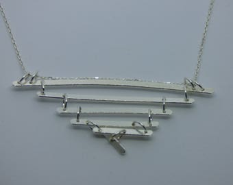 Unique, one of a kind handmade sterling silver necklace with  pyramid shaped pendant
