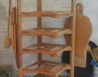 French Farmhouse  Wooden vintage Cake / Plate Rack & 3 bakery tins...wooden Baking Tin Stand...Boards Storage...Magazine's Rack...Farmhouse