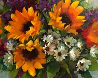 "Summer Gathering, 18""x18"", acrylic, original, tulip, sunflowers, sunflower, still life, krista eaton"