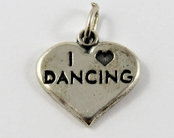 I Love Dancing on Shape of a Heart Sterling Silver Charm of Pendant.