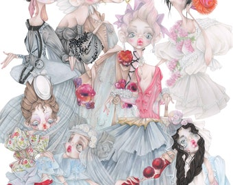 John Galliano pop surrealism baroque rococo roaring 20s gothic fashion illustration art print