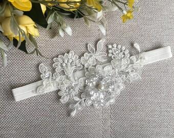 Bridal lace garter, wedding garter, Garter set, ivory sequins garter, pearl garter