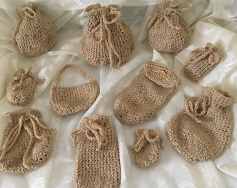 11 Assorted Crochet Drawstring Bags and Purses