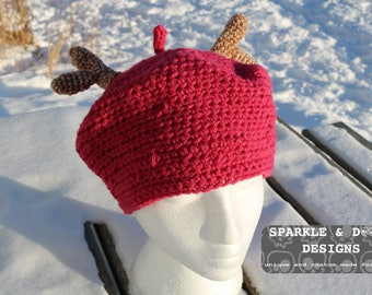 Forest Girl Beret, antlers crochet mori style made to order