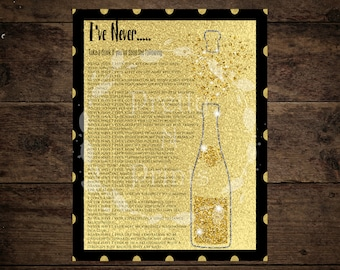 I've Never Game - Dirty Version - Bachelorette Party - Champagne Themed - Bridal Shower Decor Instant Download - Print At Home - DIY - T0001