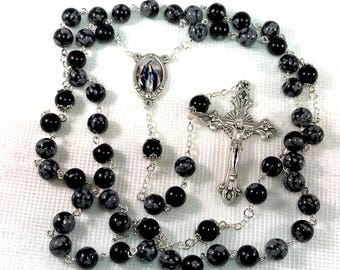Our Lady of Grace Snowflake Obsidian and Black Onyx Rosary