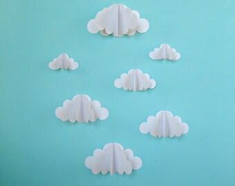 3D Paper Wall Clouds - 3D Paper Wall Art/Wall Decor/Wall Decals