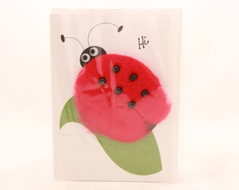 """NEW! Vintage Greeting Card By Interart. """"HI"""" Lady Bug. Single Card with Envelope."""