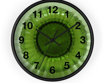 """Unique Green Photo, Wall Clock, Round Clock, 10"""" Diameter, Gift for Her, Gift for Him, Birthday Present, Christmas Present"""