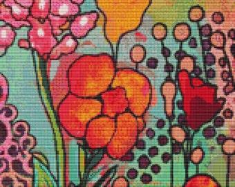 Cross Stitch Kit,  Fields of Flowers Smidge, Licensed Art By Kim Ellery, Made By Gecko Rouge