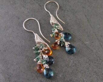 Rainforest drop earrings, handmade eco friendly fine silver, London blue topaz, citrine and green apatite earrings-OOAK
