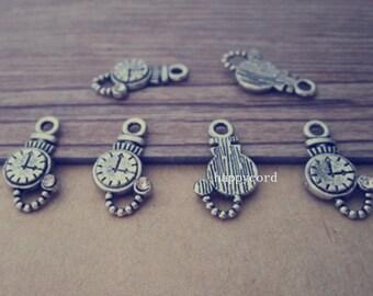 20pcs Antique silver clock Charm Pendant  10mmx17mm