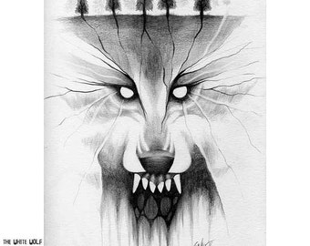 The White Wolf Drawing by Chad Savage