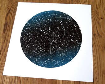 Orion / Linogravure d'Orion, version dégradé de bleu, constellation