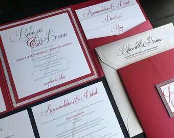 Metallic Red & Glitter Silver Custom Pocket Wedding Invitations | Wedding Announcements | Elegant | Script | Invitation Suite | Glitter