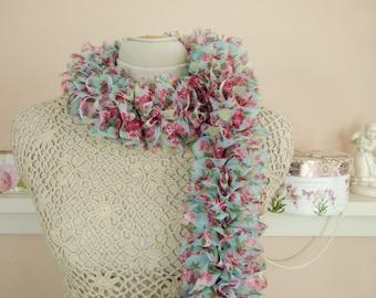 "Lightweight Chiffon Floral Ruffle Scarf - Hand Knit Ruffle Shabby Chic Scarf- ""Fray Away #2"" - Item 1549"