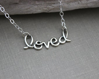 Sterling Silver loved word Charm Necklace - Sterling Silver Cable Chain - Gift for her - Simple inspirational Reminder - you are loved