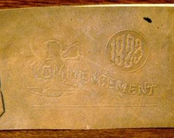 vintage high school ephemera  ... leather COMMENCEMENT booklet COESSE Indiana 1923 ephemera  ...