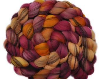 Hand dyed roving - 21.5μ Merino wool combed top spinning fiber - 4.1 ounces - Bow Chaser 1