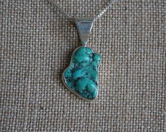 Rough Turquoise Handmade sterling silver Pendant