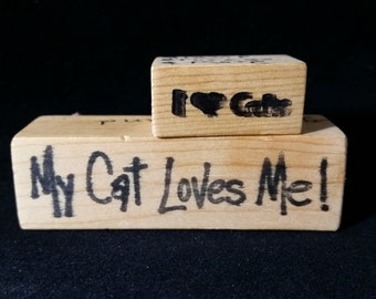 I Love Cats  My cat loves me Used Rubber stamp View all Photos