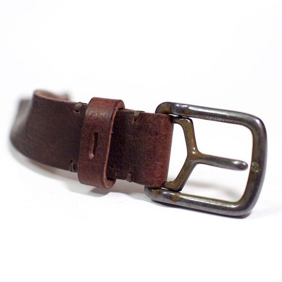 Rugged Leather Belt made by Toro Bull 4 millimeters aged italian rusted Buckle 35 mm