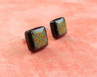 Black Onyx and Sterling Silver Post Earrings, Turquoise & Red Spanish, Mexican, Catalina and Mediterranean Tile Inspired Wanderluster