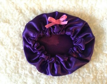 Purple Baby Satin Hair Bonnet