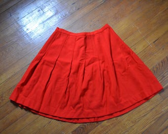 Vintage 1960's Red Pleated A-Line Skirt