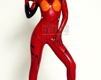 Japanese EVA Asuka Latex Costume Catsuit Rubber Outfit