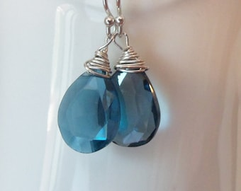 AAA London Blue Topaz Gemstone Earrings Wire Wrapped with Sterling Silver
