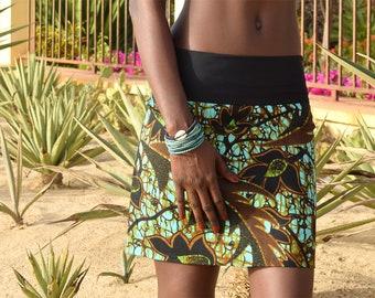 African print skirt, reversible skirt with African wax fabric, mini skirt, short skirt, ethnic skirt, ankara clothes, ethnic graphic pattern