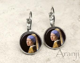 Girl with a Pearl Earring earrings, Vermeer earrings, Girl With a Pearl Earring jewelry, Vermeer art earrings, fine art earrings AR114LB