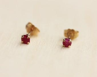 Ruby Studs Gold, Tiny Ruby Studs, Round Ruby Studs, Pink Ruby Studs, Ruby Studs, 10K Ruby Studs, 10K Gold Studs, 10K Studs, Ruby Earrings
