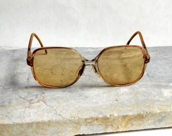Vintage 1980s Luxottica Italy Women's Eyeglasses Frames 50-47-135 Calista Rosecognac - Tinted Tootsie Glasses - Oversized Prescription