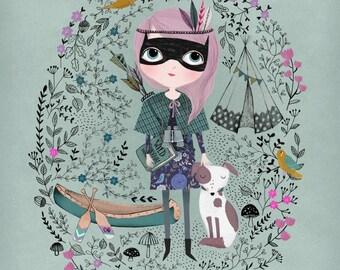 Spy Girl....Giclee print of an original illustration