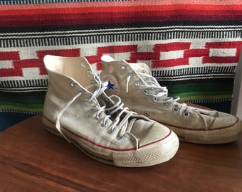 Old School Converse White Hi Top Sneakers Shoes Men's Size 9.5 Chuck Taylor USA Made High Tops Retro All Stars