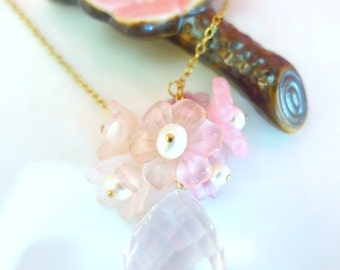 Valentines Day pink cherry blossom rose quartz gold necklace, Spring wedding pink sakura rose quartz necklace, shabby chic pink peonies