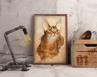 Abyssinian Cat Painting Orange Cat Art Pet art Abstract Cat Portrait Colorful Per wall art Cat Painting Watercolor Cat Portrait Cat Poster
