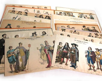 Antique German Costume Engravings Plates, Zur Geschichte der Kostüme, 16 Original German Costume Colored Engravings, Costume Research