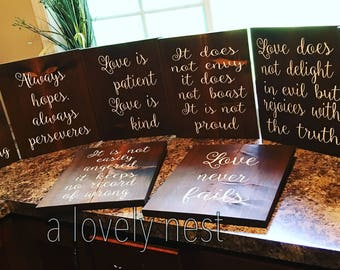 Wedding aisle signs Love is patient love is kind aisle signs Corinthians 13