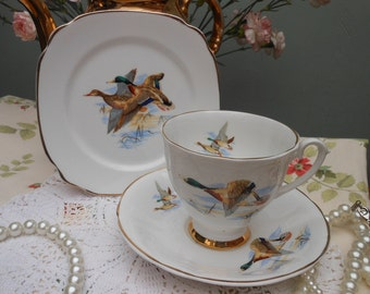 FLYING DUCKS CHINA Trio 1960's -Tea Set -English bone china -Twitcher - Ducks -Wildlife -English bone china -Gift for him -for afternoon tea
