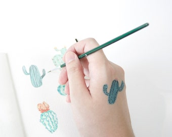 Cactus Series Pattern Temporary Tattoo, Set of Seven, Cactus Tattoo