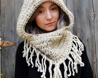 Hooded cowl, chunky knit, fantasy, fairie, elf hood, elven, wool cowl, winter cowl, mens gift, gift for her, hooded scarf, mothers day gift