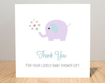 Personalised Baby Shower Thank You Cards - Baby Shower Thanks Cards - Baby Thank You Cards - Elephant Thank You Cards