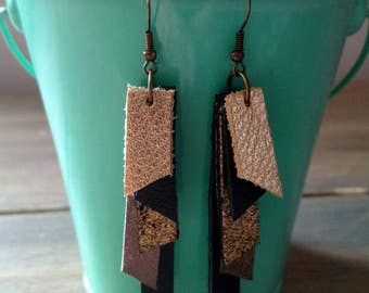 Gold and Black Layered Leather Drop Earrings - Metallic Gold Dangle Earrings - Textured Leather Earrings