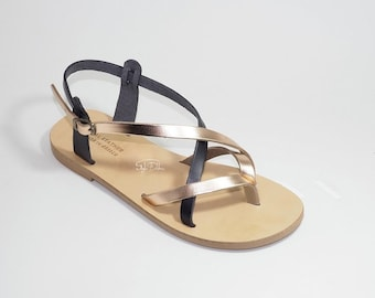 "Slide in Greek Leather sandals -Unisex greek sandals, authentic leather handmade sandals, stylish sandals - JUST ARRIVED! ""CELIA"""