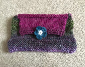 knitted bag, clutch bag, knitted clutch bag