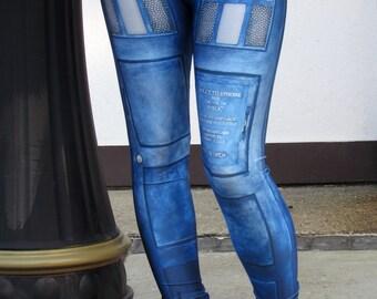 TAFI Police Call Box Leggings - Dr Who Tardis-inspired Sci-Fi TV Costume Yoga Pants Black Milk Galaxy CosPlay Print Jeggings